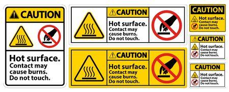 Illustration pour Caution Hot Surface Do Not Touch Symbol Sign Isolate on White Background,Vector Illustration  - image libre de droit