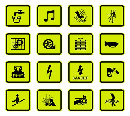 Illustration pour Warning Hazard Symbols labels Sign Isolated on White Background,Vector Illustration - image libre de droit