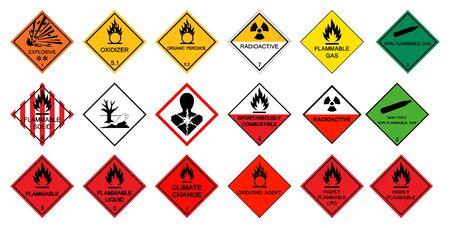 Illustration pour Warning transport hazard pictograms,Hazardous chemical danger Symbol Sign Isolate on White Background,Vector Illustration - image libre de droit