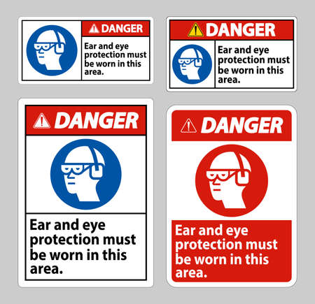 Illustration pour Danger sign Ear And Eye Protection Must Be Worn In This Area - image libre de droit