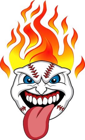 Flaming Baseball Ball Face