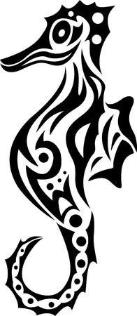 Illustration pour sea horse tribal - image libre de droit