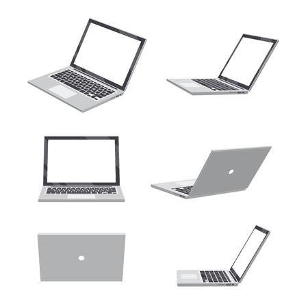 Illustration pour Set of various poses of 3D Laptop blank - image libre de droit