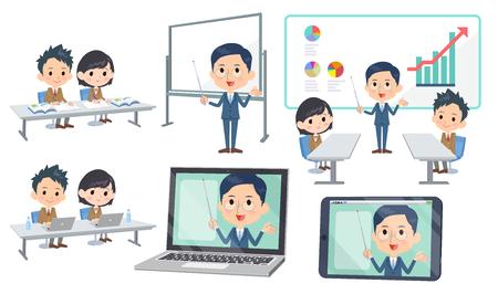 Illustration pour Set of various poses of meeting lecture school - image libre de droit