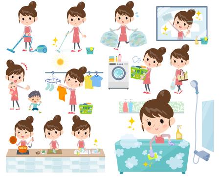 Illustration pour Set of various chores made by a mother with a ballet bun hair. - image libre de droit