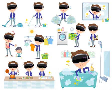 Set of various poses of virtual reality goggle men_housekeeping