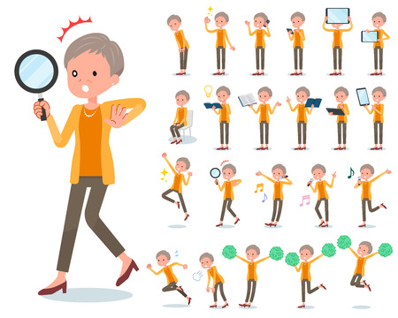 A set of old women with digital equipment such as smartphones. There are actions that express emotions. It's vector art so it's easy to edit.