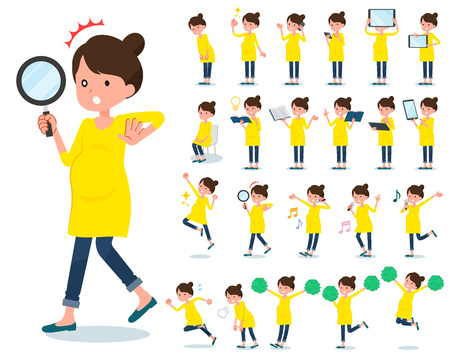A set of Pregnant women with digital equipment such as smartphones. There are actions that express emotions. It's vector art so it's easy to edit.