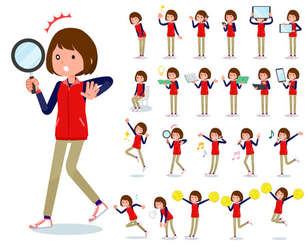 A set of women with digital equipment such as smartphones. There are actions that express emotions. It's vector art so it's easy to edit.