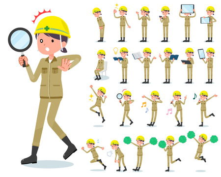A set of working women with digital equipment such as smartphones. There are actions that express emotions. It's vector art so it's easy to edit.