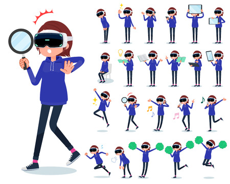 A set of women wearing virtual reality goggles with digital equipment such as smartphones. There are actions that express emotions. It's vector art so it's easy to edit.