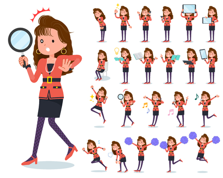 A set of women in the 90's dress with digital equipment such as smartphones. There are actions that express emotions. It's vector art so it's easy to edit.