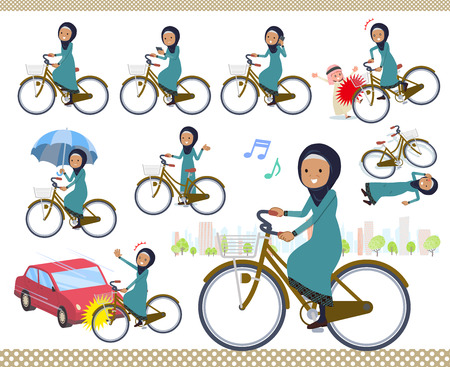 Illustration pour A set of old women wearing hijab riding a city cycle.There are actions on manners and troubles.It's vector art so it's easy to edit. - image libre de droit