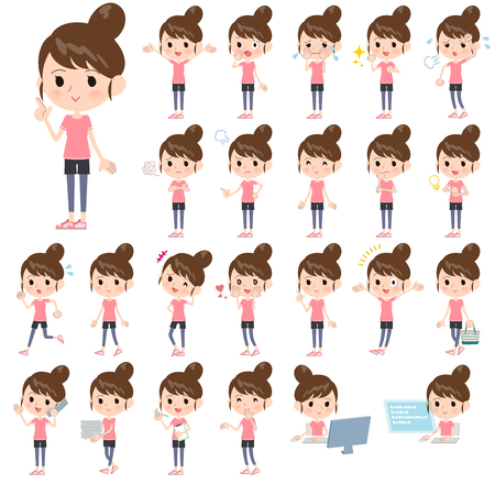 Illustration for A set of women in sportswear with who express various emotions.There are actions related to workplaces and personal computers.It's vector art so it's easy to edit. - Royalty Free Image