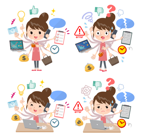 A set of mom who perform multitasking in the office.There are things to do smoothly and a pattern that is in a panic.It's vector art so it's easy to edit.