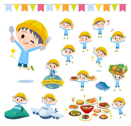 Illustration pour A set of Nursery school boy on food events.There are actions that have a fork and a spoon and are having fun.It's vector art so it's easy to edit.  - image libre de droit