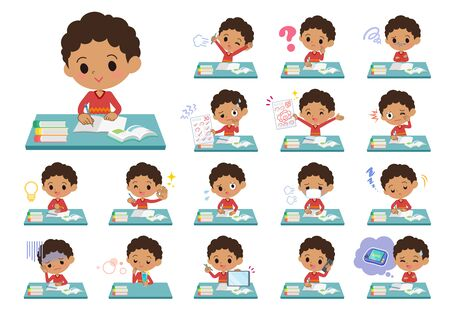 Vektor für A set of boy on study.There are various emotions and actions.It's vector art so it's easy to edit.  - Lizenzfreies Bild