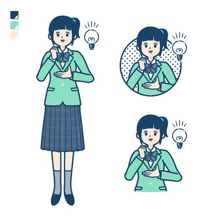 Illustration pour A Female student in a green blazer with came up with images. It's vector art so it's easy to edit.   - image libre de droit