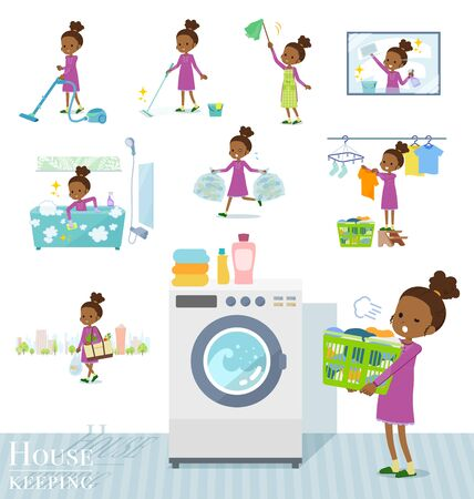 Illustration for A set of girl related to housekeeping such as cleaning and laundry.There are various actions such as child rearing.It's vector art so it's easy to edit. - Royalty Free Image