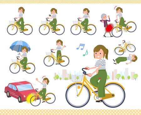 Illustration pour A set of casual fashion women riding a city cycle.There are actions on manners and troubles.It's vector art so it's easy to edit.  - image libre de droit