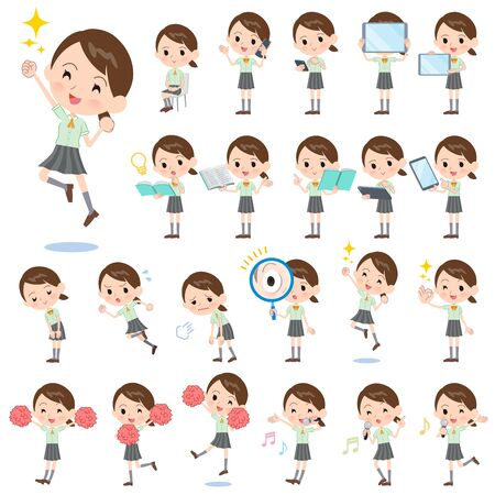 Illustration pour A set of Short sleeve school girl with digital equipment such as smartphones.There are actions that express emotions.It's vector art so it's easy to edit. - image libre de droit