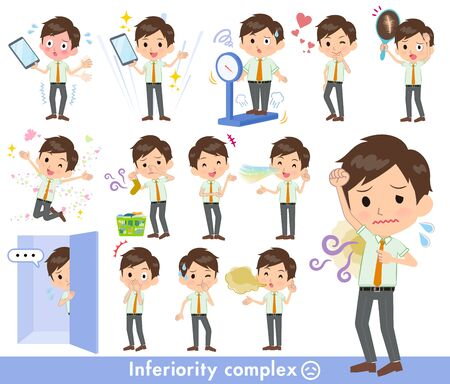 Illustration pour A set of school boy on inferiority complex.There are actions suffering from smell and appearance.It's vector art so it's easy to edit.  - image libre de droit