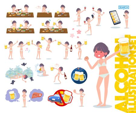 Illustration pour A set of women in underwear related to alcohol.There is a lively appearance and action that expresses failure about alcohol.It's vector art so it's easy to edit. - image libre de droit