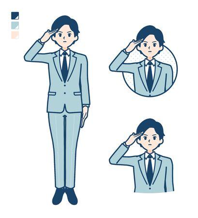 Illustration pour A young Businessman in a suit with salute images. It's vector art so it's easy to edit. - image libre de droit