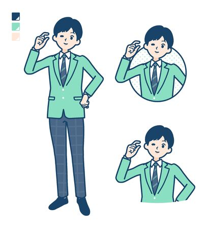 Illustration pour A student boy in a green blazer with Just a bit Hand sign images. It's vector art so it's easy to edit. - image libre de droit