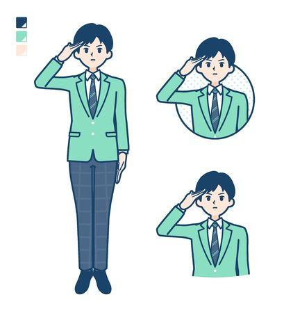 Illustration pour A student boy in a green blazer with salute images. It's vector art so it's easy to edit. - image libre de droit