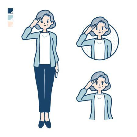 Illustration pour Senior woman in a suit with salute images. It's vector art so it's easy to edit. - image libre de droit