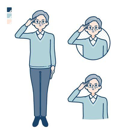Illustration pour Senior Man with salute images. It's vector art so it's easy to edit. - image libre de droit