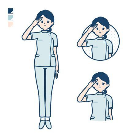 Illustration pour A young nurse woman with salute images. It's vector art so it's easy to edit.  - image libre de droit