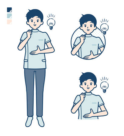 Illustration pour A young nurse man with came up with images. It's vector art so it's easy to edit. - image libre de droit