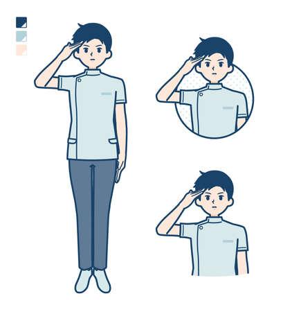 Illustration pour A young nurse man with salute images. It's vector art so it's easy to edit. - image libre de droit