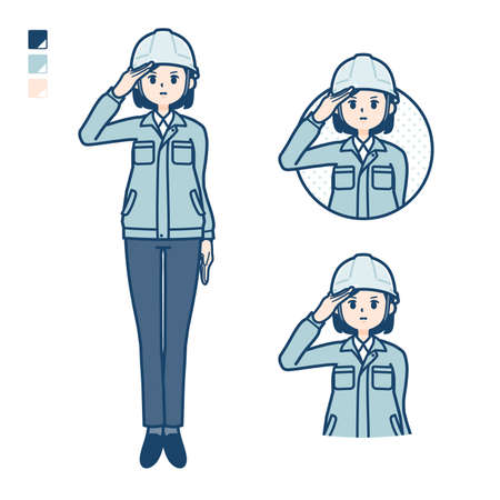 Illustration pour A woman wearing workwear with salute images. It's vector art so it's easy to edit. - image libre de droit