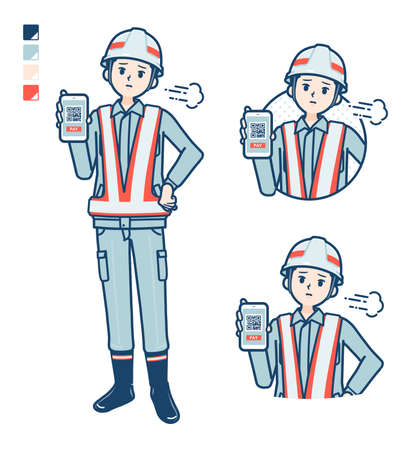 Illustration pour A Man wearing workwear with came up with images. It's vector art so it's easy to edit. - image libre de droit
