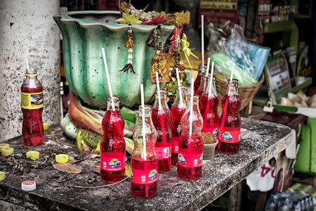 BANGKOK, THAILAND - July 1: Strawberry Fantas represents blood sacrifice for spirits.