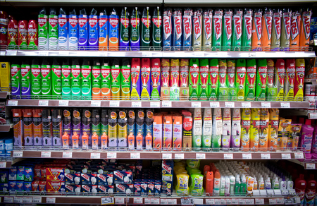 BANGKOK, THAILAND - AUGUST 12: Foodland Supermarket displays a variety of anti pest products on its shelves on August 12, 2017 in Bangkok.