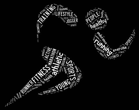 athletic running pictogram with related wordings on black background and white words