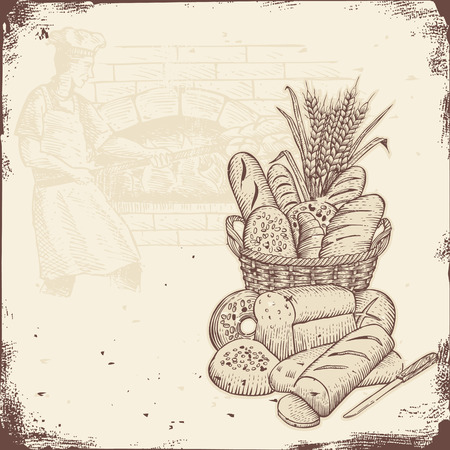 Illustration pour Bakery signboard, Basket of bread and baker baking bread in a brick oven. - image libre de droit