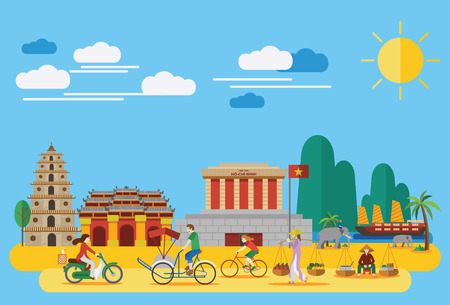 Photo pour Flat design,Vietnamese landmarks and Icons such as Ho Chi Mihn Mausoleum, Heavenly Lady Pagoda, Imperial City and lifestyle of Vietnamese people - image libre de droit