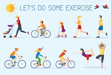 Flat design, people exercising outdoors