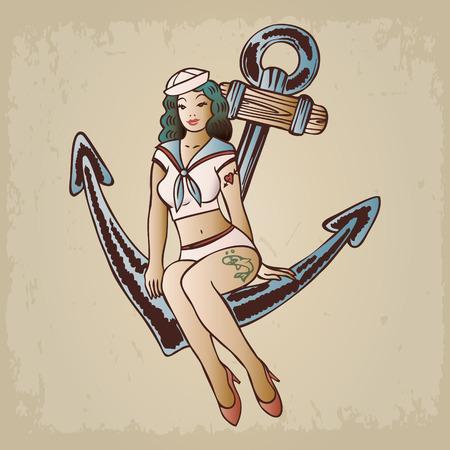 Illustration pour Vintage pinup sailor girl sitting on an anchor - image libre de droit