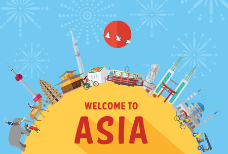 Flat design, Illustration of landmarks and icons in Asia