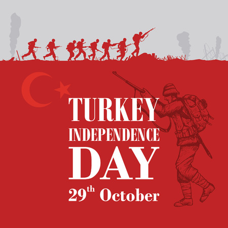 Illustration pour Silhouette of soldiers fighting at war with text Turkey independence day - image libre de droit