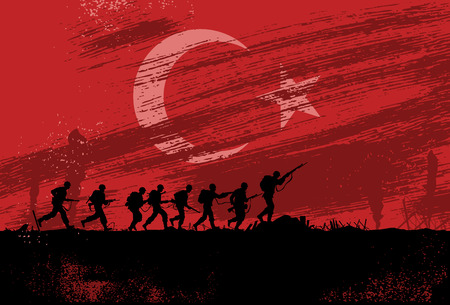 Silhouette of soldiers fighting at war with Turkey flag as a background