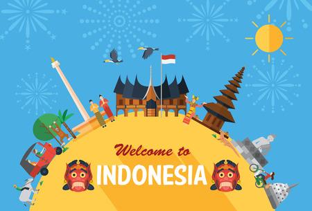 Illustration pour Flat design, Illustration of Indonesia Icons and landmarks - image libre de droit