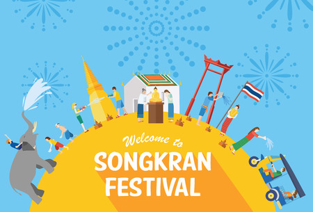Illustration pour Songkran festival, Thailand New Year, Illustration of people celebrating and throwing water on each other, Flat design - image libre de droit