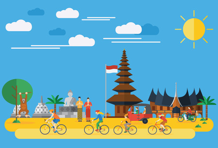 Flat design, Happy family riding bicycles in Indonesia